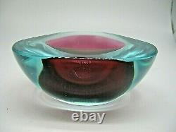 Vintage Murano Seguso label sommerso cased glass geode bowl with polished flat rim