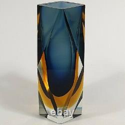 Vintage Murano Sommerso Faceted Block Vase Navy Blue Amber Mandruzzato