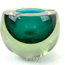 Vintage Murano Sommerso Green Bowl Ashtray