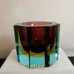 Vintage Murano Sommerso Hexagon Studio Glass Bowl Mid Century