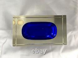 Vintage Murano Sommerso Large Block Bowl in Clear and Stunning Blue with Label