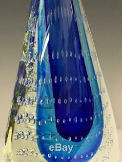 Vintage Murano Sommerso Teardrop Art Glass Sculpture Blue Controlled Bubbles 12
