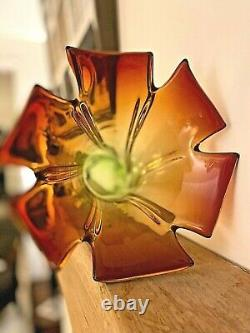 Vintage Murano Sommerso glass vase amber & green 1960's