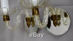 Vintage Murano Style Pair of Glass & Brass Wall Sconces Chandelier Mirror