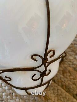 Vintage Murano Style Wire Caged Blown Glass Lantern Lamp