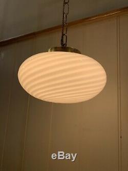 Vintage Murano Swirl-Glass Ceiling Lamp, 1970s, Mid-Century Large Crème Vetri