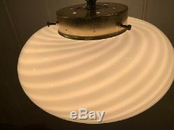 Vintage Murano Swirl-Glass Ceiling Lamp, 1970s, Mid-Century Large Crème Vetri