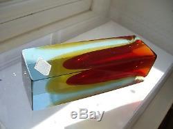 Vintage Murano Tiozzo & Ferro triple sommerso Glass vase inc original foil label