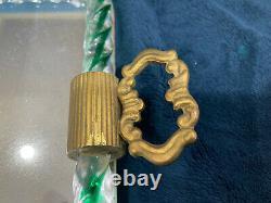 Vintage Murano Twisted Glass Rope Green Brass Dresser Vanity Tray Mirror 12x10