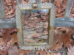 Vintage Murano Twisted Glass Rope Mirror Picture Frame Tray 17 x 12