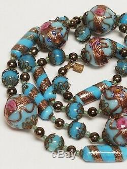 Vintage Murano Venetian Aventurine Turquoise WEDDING CAKE Glass Bead Necklace