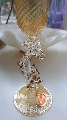 Vintage Murano Venetian Glass Gold Champagne Flute with Dolphin Stem