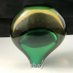 Vintage Murano Venetian Sommerso Glass Green Amber 4 7/8 Teardrop Stem Vase