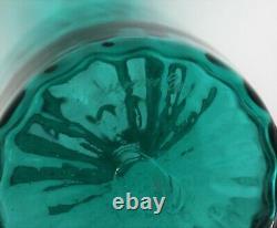 Vintage Murano Venetian Venini Green Art Glass Vase 2001 Red Thread Rim