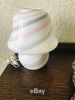 Vintage Murano Vetri Glass Swirl Mushroom Table Lamp 15 Mid Century Modernist