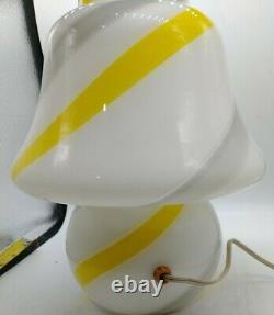 Vintage Murano Vetri Italian Glass Mushroom Lamp, white, grey, Yellow handmade