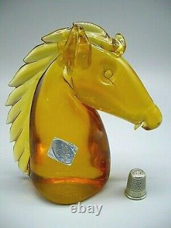 Vintage Murano attrib. Archimede Seguso label glass horse head sculpture SUPERB