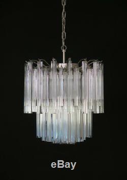 Vintage Murano chandelier 107 trasparent prism triedri Arianna model