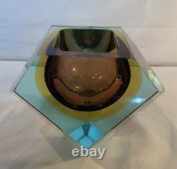 Vintage Murano glass, Mandruzzato tri-colour faceted Geode Bowl Geometric Rare