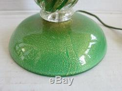 Vintage Murano green glass table lamp with gold flakes working