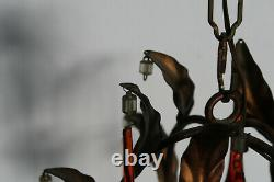 Vintage Murano red glass drops mid century 1970 Chandelier lamp