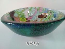 Vintage Murano'tutti frutti' art glass bowl C 1960's silver / gold detail