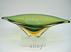 Vintage Murano uranium glass freeform bowl Flavio Poli Seguso Vetri d'Arte 1950s