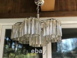 Vintage Original Italian Murano Prism Glass Chandelier Venini Camer Chrome