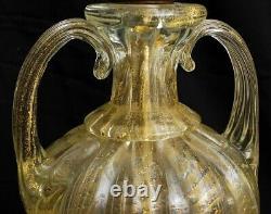 Vintage Pair Italian Murano Venetian Glass Table Lamp Barovier & Toso Gold Fleck