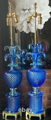 Vintage Pair Marbro Murano Blue Art Glass Lamps Barovier & Toso Italian Venetian