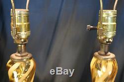 Vintage Pair Mid Century Murano Amber Swirl Glass Italian Table Lamps