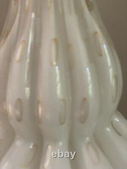 Vintage Pair Murano Barbini Bullicante White Gold Table Glass Lamps Aventurine