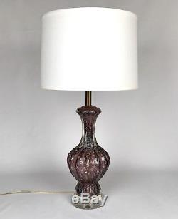Vintage Pair Purple Eggplant Italian Murano Italy Glass Lamps Barovier Toso Sgnd