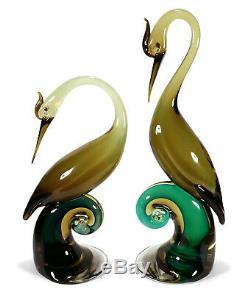 Vintage Pair Salviati Murano Italy Italian Art Glass Bird Figurines Sculptures