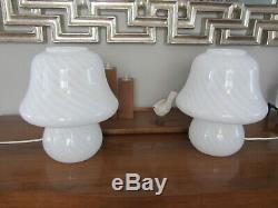 Vintage Pair Vetri Murano Glass White Grey Striped Swirl Mushroom Table Lamp 11