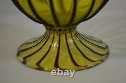 Vintage Pair of Murano (Venetian) Vases in Yellow and Purple