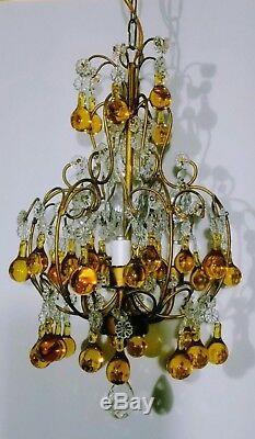 Vintage Petite Chandelier Crystal Amber Murano Glass Drops Italian Tole Fixture