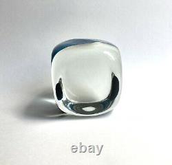 Vintage Pierre Cardin Venini Murano Glass Blue Fascia Verticale Cube Sculpture