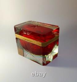 Vintage Rare Alessandro Mandruzzato Murano Casket Sommerso Glass Jewellery Box
