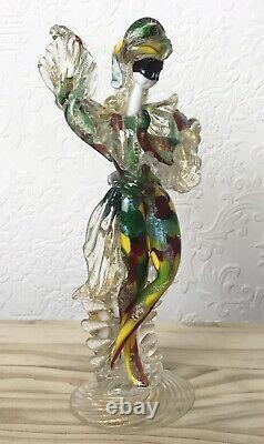 Vintage Rare Genuine Italian Murano Art Glass Harlequin Figurine C1940, 26.5cm