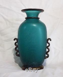 Vintage Rare Green Gambaro & Poggi Signed Murano Twin Handle Glass Vase