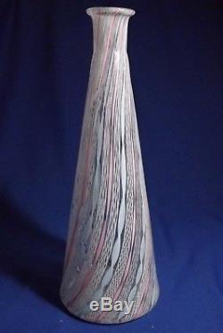 Vintage Rare Murano Art Glass 3 Color 14½ H Latticino F. TOSO Decanter