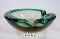 Vintage Retro Italian Murano Art Glass Bowl Geode Sommerso