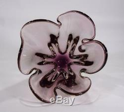 Vintage Retro Italian Murano Art Glass Bowl Vase Purple