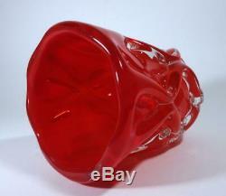 Vintage Retro Italian Murano Art Glass Cased Red Large Vase MID Century