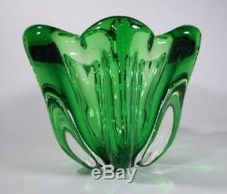 Vintage Retro Italian Murano Art Glass Vase Bowl Green