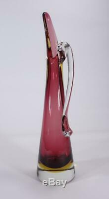 Vintage Retro Italian Murano Art Glass Vase Jug Sommerso
