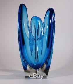 Vintage Retro Murano Art Glass Vase Cased Blue