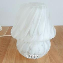 Vintage Retro Murano Style DAR Lighting Small White Frosted Glass Mushroom Lamp