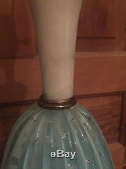 Vintage Seguso Aqua Blue Murano Glass and Italian Marble Table Lamps a Pair